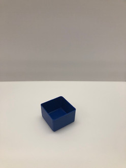 "3"" x 3"" x  2"" Blue Plastic Box   (Actual dimensions: 2.875"" x 2.875"" x 1.75"")"