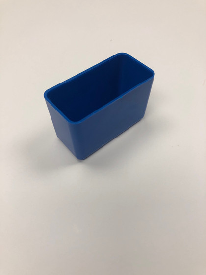 "3"" x 1.5"" x 2"" Blue Plastic Box (actual depth is 1-3/4"")"
