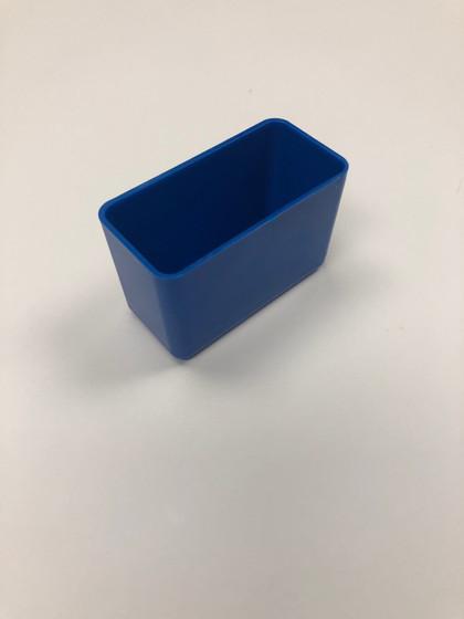 "3"" x 1.5"" x 2"" Blue Plastic Box (actual depth is 1-3/4"")"