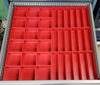 18 4x4x2 red plastic drawer tool cups 18 2x8x2 red plastic drawer tool cups