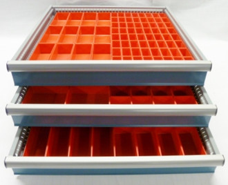 "140 Piece Assortment of 2"" Deep Red Plastic Boxes"