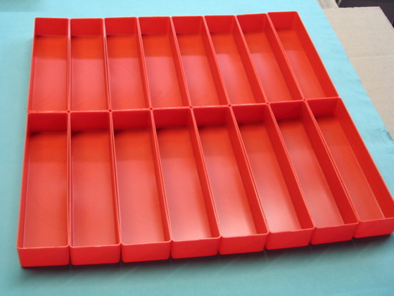 """16 - 3"""" x 12"""" x 2"""" Red Plastic Boxes for a 24"""" Square tool box drawer"""