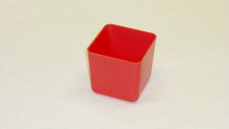"3"" x 3"" x  3"" Red Plastic Box     (Actual dimensions:  2.875"" x 2.875"" x 2.75"")"