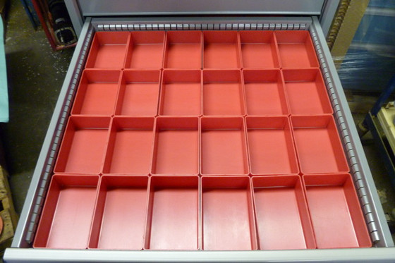 """Tool Box Drawer Divided by 24  4"""" x 6"""" x 2"""" Red Plastic Boxes"""