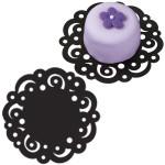 4 inch Black Swirl Doilies