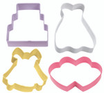 4 Piece Wedding Cookie Cutter Set
