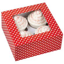 4 Cavity Red-White Dots Cupcake Box