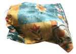100% Cotton Fresh Bread Storage Bag With Drawstring - Green Yellow Floral