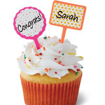 Confetti Customisable sticker cupcake topper pix