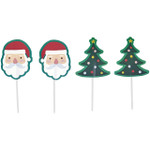 Santa and Tree Baking Cup Picks  12pc