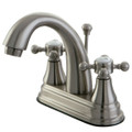 "Satin Nickel Kingston Brass English Vintage Two Handle 4"" Centerset Lavatory Faucet with Brass Pop-up KS7618BX"