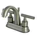 "Satin Nickel Kingston Brass Manhattan Two Handle 4"" Centerset Lavatory Faucet with Brass Pop-up KS8618CML"