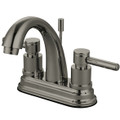 "Satin Nickel Kingston Brass Concord Two Handle 4"" Centerset Lavatory Faucet with Brass Pop-up KS8618DL"