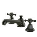 Black Nickel NS4460BX Water Onyx  widespread lavatory faucet with cross handles and brass pop up drain