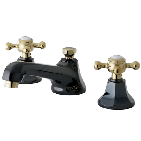 Black Nickel/Polished Brass NS4469BX Water Onyx widespread lavatory faucet with brass pop-up drain