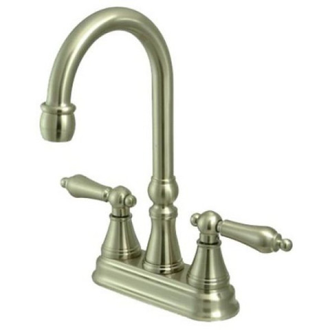 "Satin Nickel Two Handle 4"" Centerset Bar Faucet without Pop-Up Rod KS2498AL"