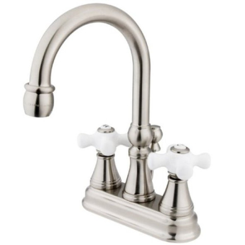 "Satin Nickel Two Handle 4"" Centerset Lavatory Faucet with Brass Pop-up KS2618PX"