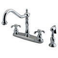 """Polished Chrome Double Handle 8"""" Centerset Kitchen Faucet with White Sprayer KB1751TXBS"""