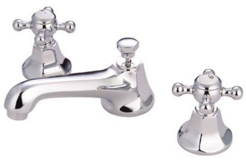 "Polished Chrome Kingston Brass Metropolitan Two Handle 8"" to 16"" Widespread Lavatory Faucet with Brass Pop-up KS4461BX"
