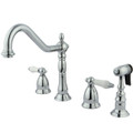 Polished Chrome Double Handle Widespread Kitchen Faucet with Brass Sprayer KS1791PLBS