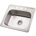 Stainless Steel Gourmetier GKTS252283 Self Rimming Single Bowl Sink, Satin Nickel  GKTS252283