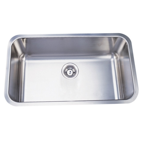 Stainless Steel Gourmetier KU311810BN Boston Stainless Steel Single Bowl Undermount Kitchen Sink, Satin Nickel KU311810BN