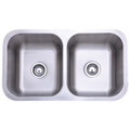 Stainless Steel Gourmetier GKUD3118 Undermount Double Bowl Kitchen Sink, Satin Nickel GKUD3118