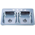 SS Mirror Gourmetier GKTD33227MR Self-Rimming Double Bowl Kitchen Sink, Mirror GKTD33227MR