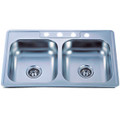 SS Mirror Gourmetier GKTD33228MR Self-Rimming Double Bowl Kitchen Sink, Mirror GKTD33228MR