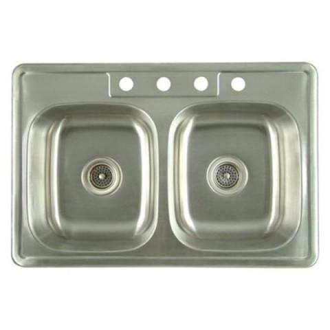 Stainless Steel Gourmetier K33228DBN Carefree Stainless Steel Double Bowl Self-rimming Kitchen Sink, Satin Nickel K33228DBN