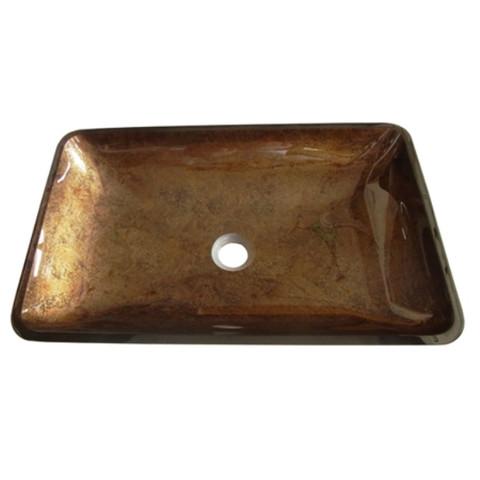 Antique Copper Fauceture EVR2214FB Roma Rectangular Antique Copper Glass Vessel Sink EVR2214FB