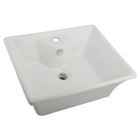 White White China Vessel Bathroom Sink with Overflow Hole & Faucet Hole EV4049