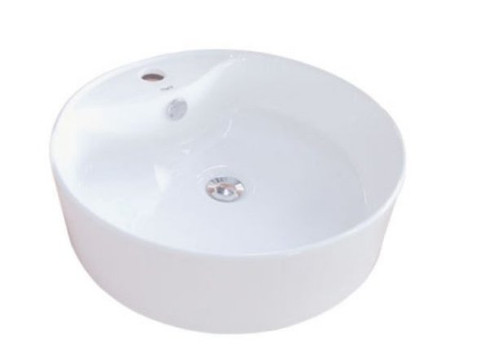 White White China Vessel Bathroom Sink with Overflow Hole & Faucet Hole EV4104