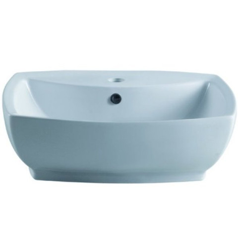 White White China Vessel Bathroom Sink with Overflow Hole & Faucet Hole EV8145
