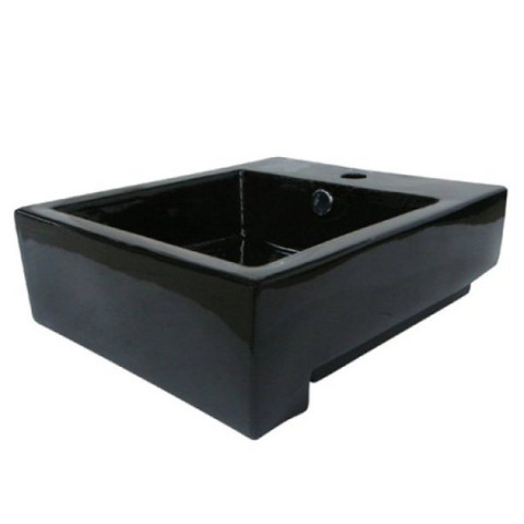 Black Black China Vessel Bathroom Sink with Overflow Hole & Faucet Hole EV4076K