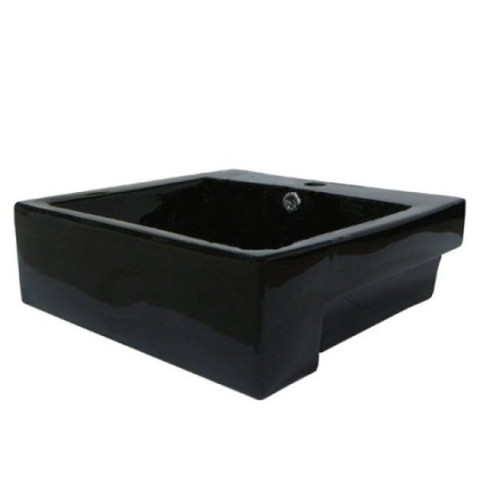 Black Black China Vessel Bathroom Sink with Overflow Hole  EV4034K