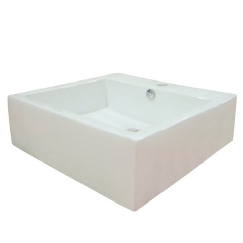 White White China Vessel Bathroom Sink with Overflow Hole and Faucet Hole EV4042