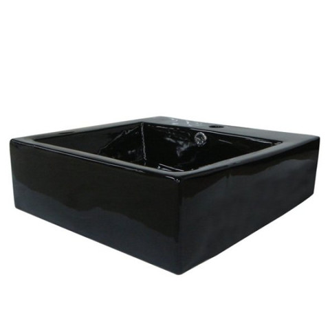 Black Black China Vessel Bathroom Sink with Overflow Hole and Faucet Hole EV4042K