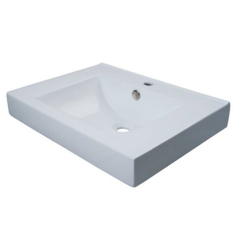 White White China Vessel Bathroom Sink with Overflow Hole & Faucet Hole EV9620
