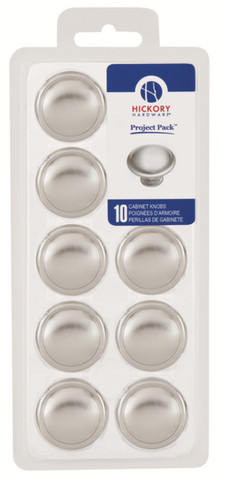 Belwith Hickory Project Pack 1-3/8 In. Conquest Satin Nickel Cabinet Knob (10 pack) VP14848-SN Hardware