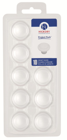 Belwith Hickory Project Pack 1-3/8 In. Conquest White Cabinet Knob (10 pack) VP14848-W Hardware