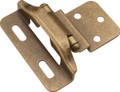 Belwith Hickory Antique Brass Semi-Concealed 3/8 In. Offset Partial Wrap 1/4 In. Overlay Hinge (2-Pack) P61030F-AB Hardware