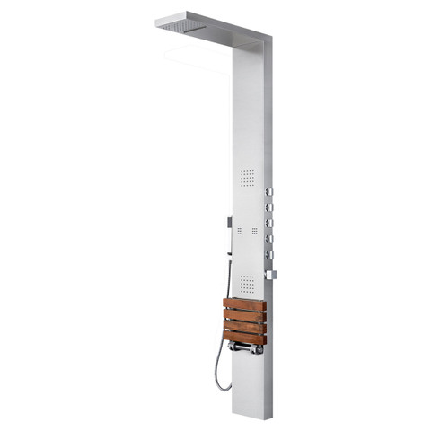 PULSE ShowerSpas Oahu ShowerSpa Matte Brushed Stainless Steel Shower Panel