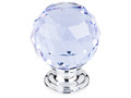 "Top Knobs Crystal TK114PC Light Blue Crystal Knob 1 3/8"" w/ Poli"