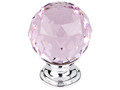 "Top Knobs Crystal TK118PC Pink Crystal Knob 1 3/8"" w/ Polished C"