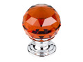"Top Knobs Crystal TK121PC Wine Crystal Knob 1 1/8"" w/ Polished C"