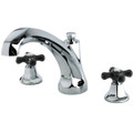 Polished Chrome Kingston Brass Metropolitan Onyx Roman Tub Filler With Black Porcelain Cross Handle, Chrome KS4321PKX