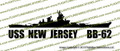 USS New Jersey BB-62 Iowa-Class Battleship Vinyl Die-Cut Sticker / Decal VSBB62