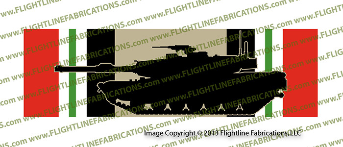 Iraq Campaign Medal with M1A1 Tank Printed Vinyl Bumper Sticker