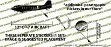 D-Day Airborne Douglas DC-3 C-47 Skytrain Dakota Paratrooper Jump Set Vinyl Die-Cut Sticker / Decal VSAC47PARA